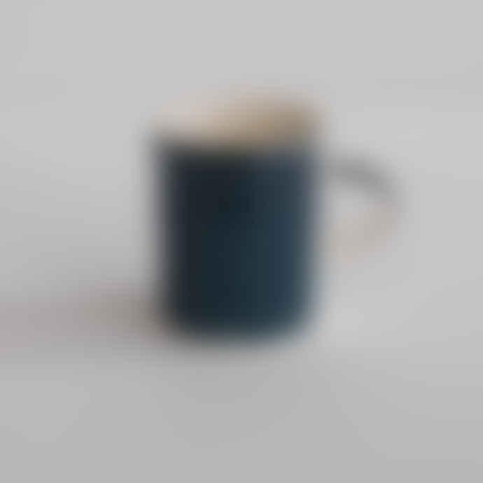 Musango Handmade Teal Demi Mug - Sgraffito Stripe