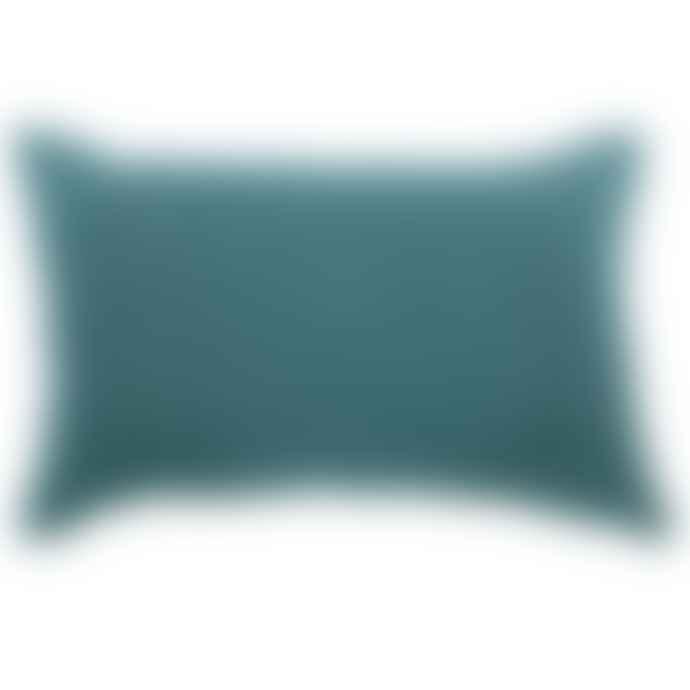 Angel des Montagnes Blue Linen Cushion With Art Deco Gold Motif