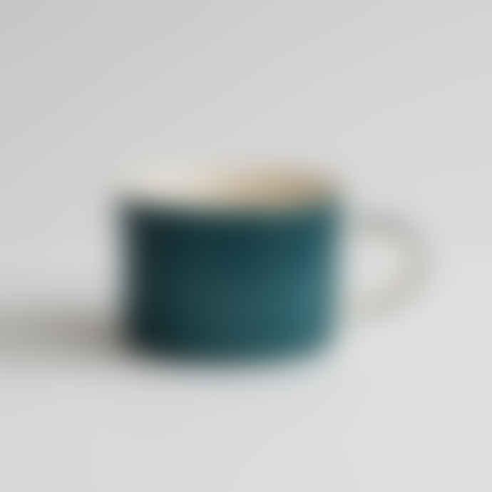 Musango Handmade Teal Wide Mug - Plain Wash