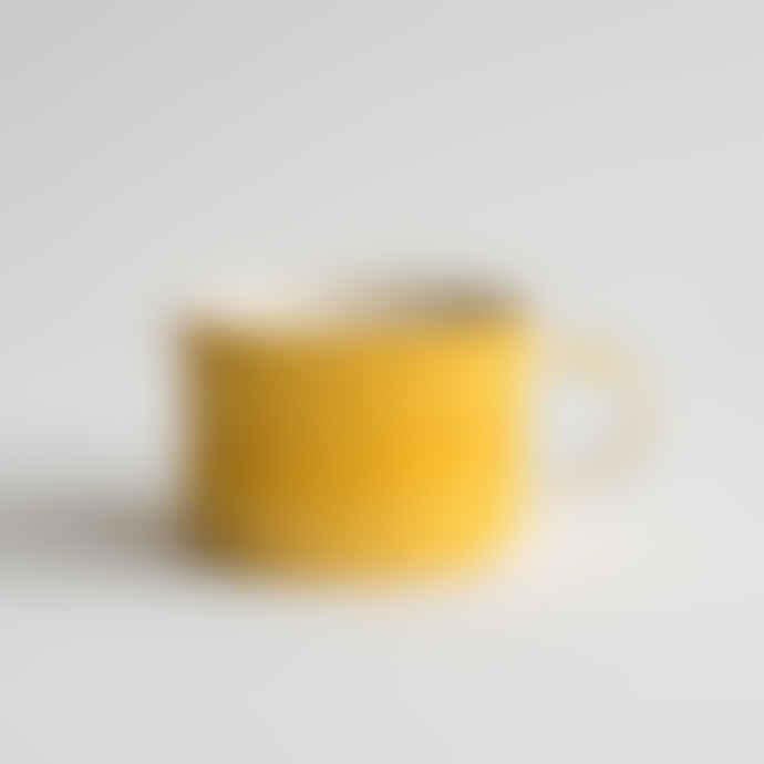 Musango Handmade Tumeric Wide Mug - Sgraffito Stripe