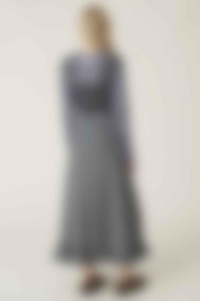 Ganni Seersucker Maxi Dress In Black