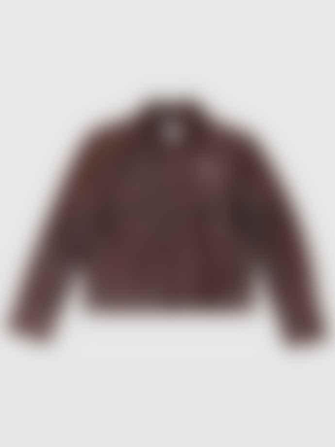 Ganni Snake Foil Leather Jacket Decadent Chocolate