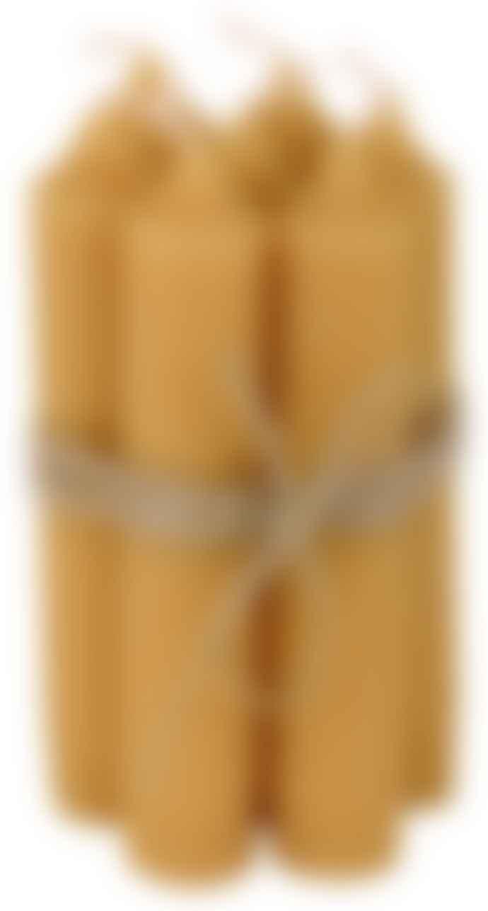 Ib Laursen Set of 6 Mustard Short Dinner Candle
