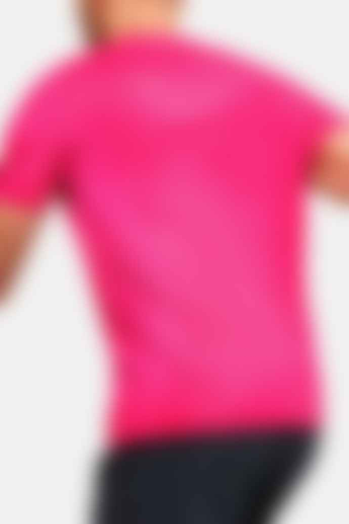 Under Armour Rush Heat Gear Fitted Short Sleeve Printed Pink T Shirt
