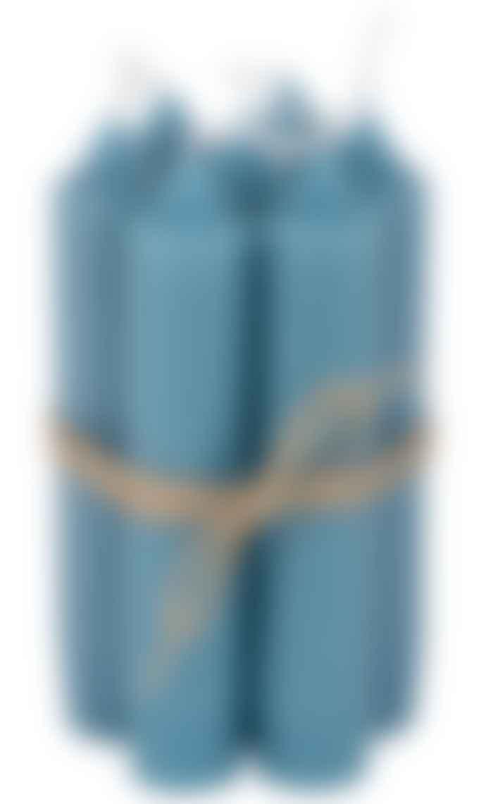Ib Laursen Set of 6 Petrol Blue Short Dinner Candles