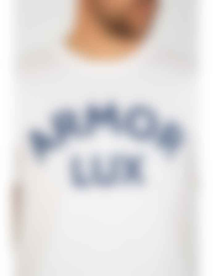 Armor Lux Logo T Shirt White Dark Navy
