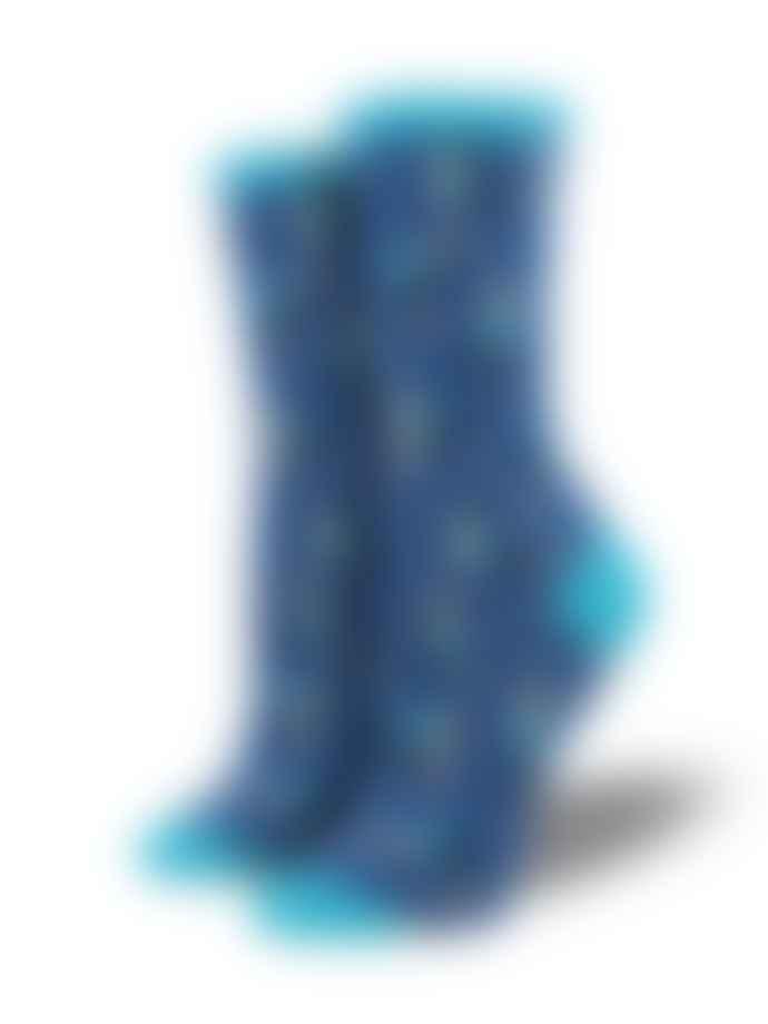 Socksmith Blueberry Blue Yoga People Ladies Cotton Socks