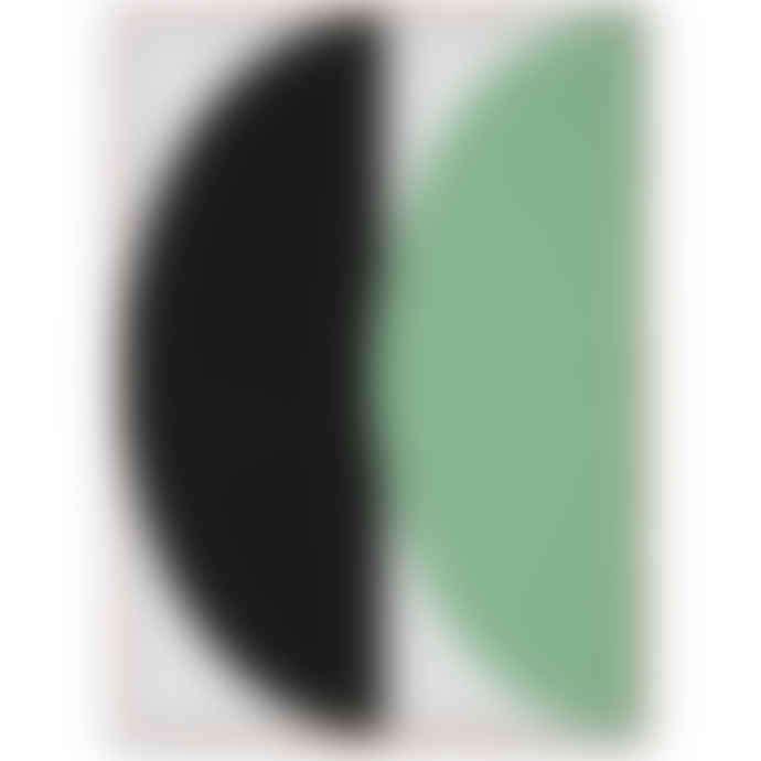 Mink Interiors Half Circles III Green + Blue - Art Print by Nina Brunn Complete With Frame (Oak or Black)