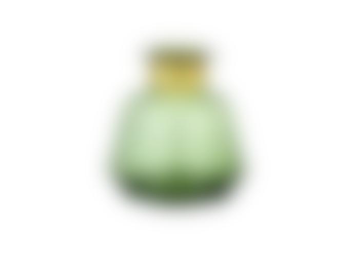 Nkuku Miza Green Glass Vase Small & Wide