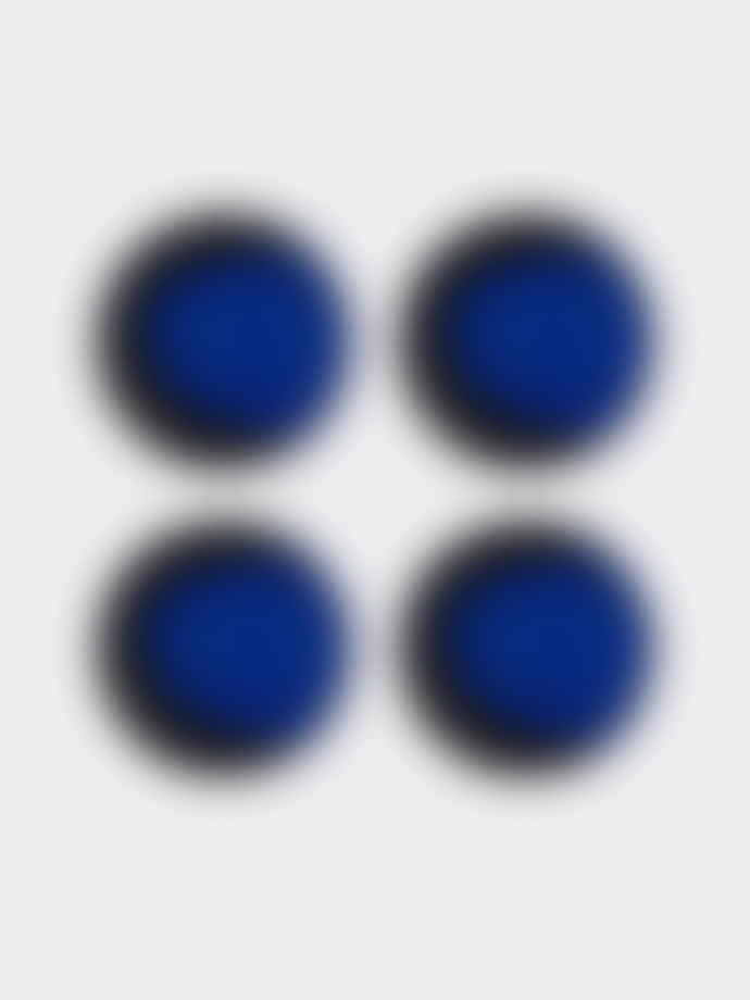 Casa Alegre Black and Blue Shades Glazed Stoneware Small Plate - Set of 4