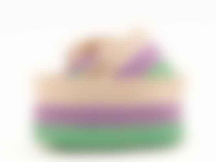 The Basket Room Purple Green and White Hela Woven Basket Medium
