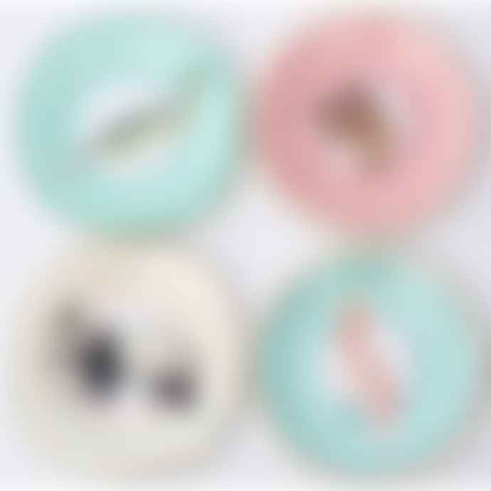 Yvonne Ellen Set of 4 Pretty Pastel Animal Cake Plates