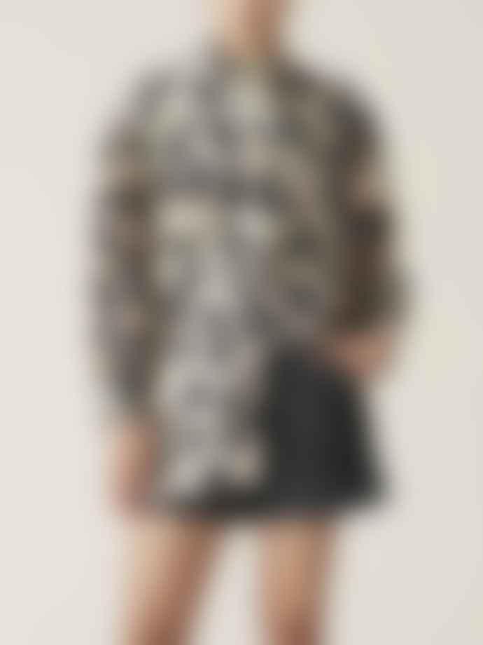 Ganni Silk Linen Shirt Maxi Leopard