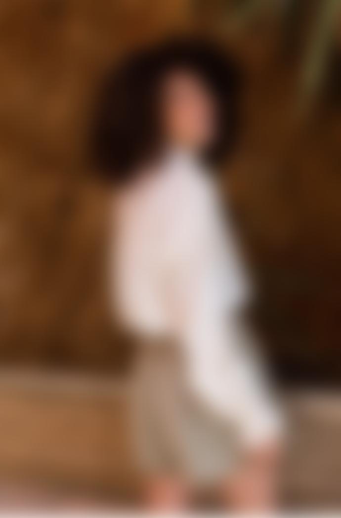 Louise Misha Ilonkania White & Gold Stripes Blouse