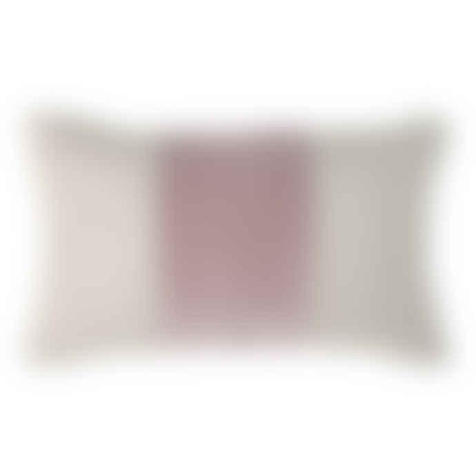 Wallace Cotton Andorra Band Linen Rectangle Cushion Rose