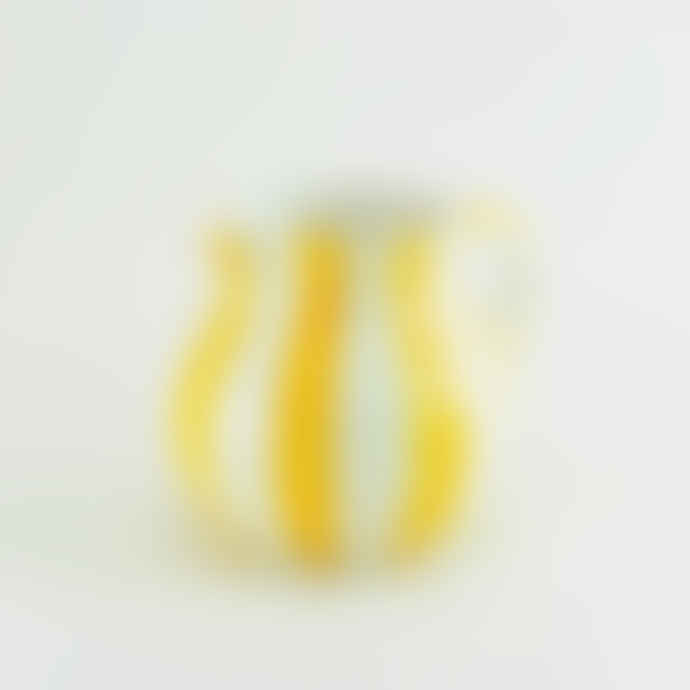 casa atlantica Yellow Striped Ceramic Hand Painted Jug