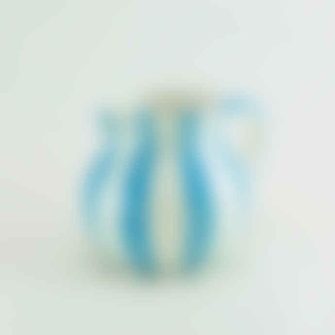 casa atlantica Light Blue Striped Ceramic Hand Painted Jug
