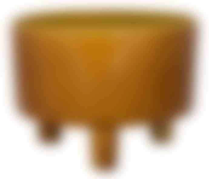 Ivyline Wide Turquoise or Ochre Glazed Ceramic Plant Pot