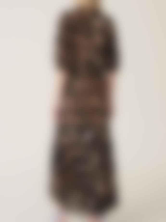 Ganni Printed Mesh Wrap Dress Maxi Leopard
