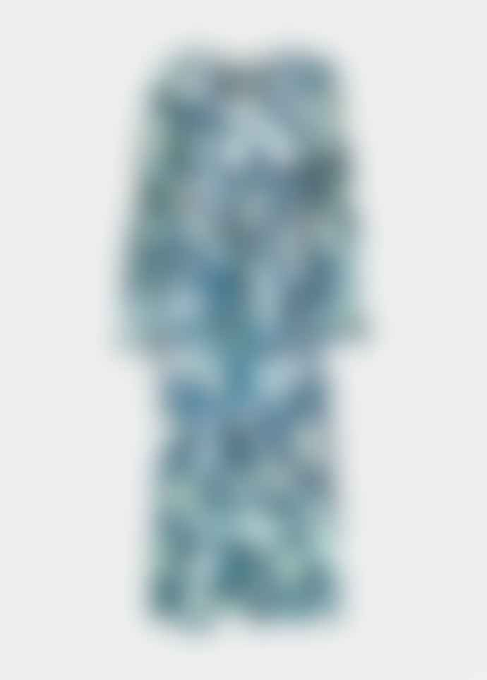 Essentiel Antwerp Light Blue Vekken Floral Print Belted Midi Dress