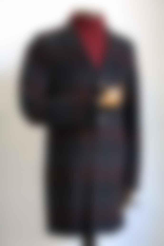 Remus Uomo Raeburn Burgundy Navy Check Coat