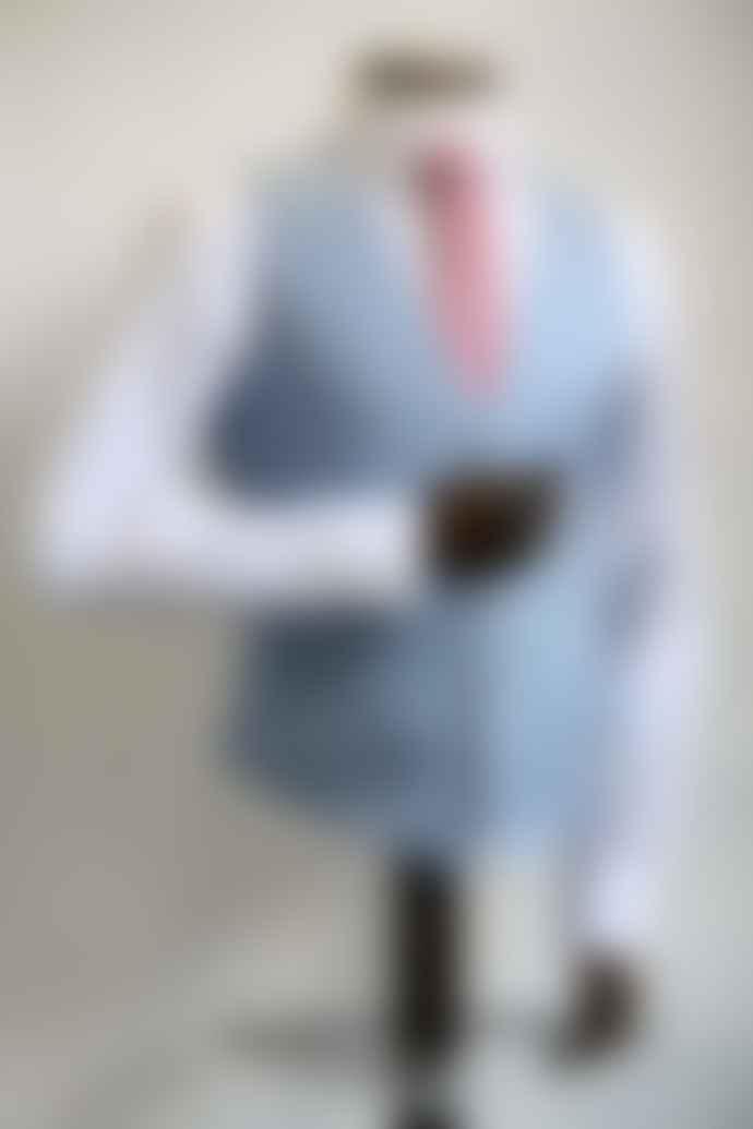 Remus Uomo Leo Sky Blue Pinstripe Waistcoat