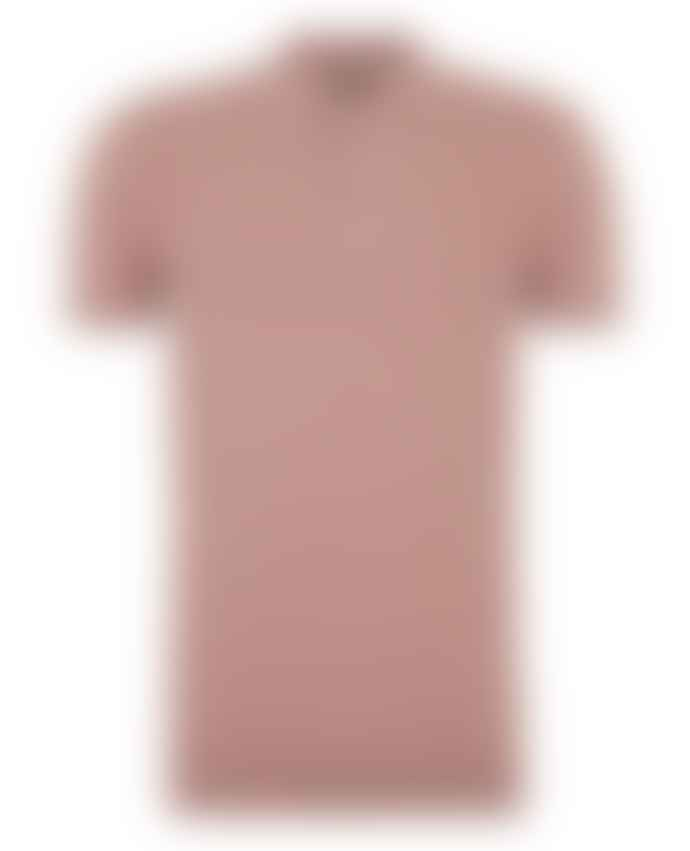 Remus Uomo Coral Pink Textured Weave Pattern Knitted Polo Shirt