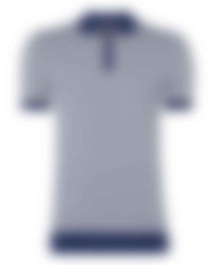 Remus Uomo Blue White Hashtag Pattern Knitted Polo Shirt