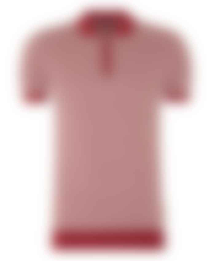 Remus Uomo Red White Hashtag Pattern Knitted Polo Shirt