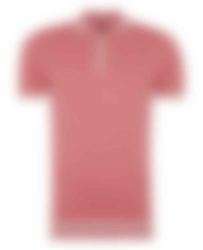 Remus Uomo Coral Pink With White Trim Knitted Polo Shirt