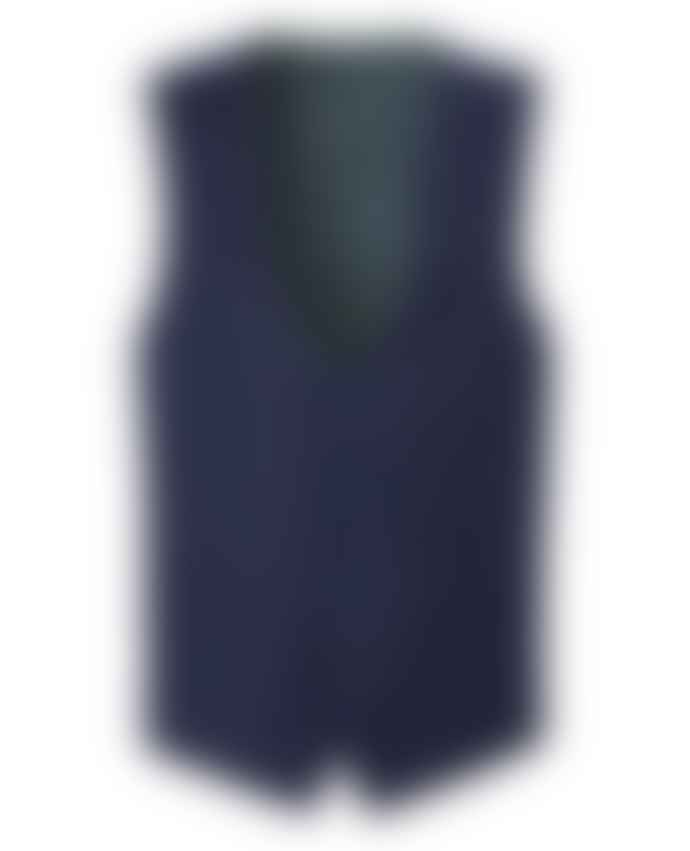 Remus Uomo Mario Navy With Burgundy Micro Check Suit Waistcoat