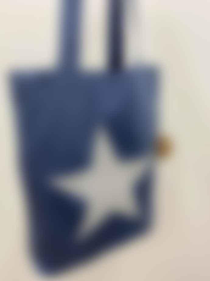 Feather & Nest Denim Salvaged Star Tote Bag Silver Glitter