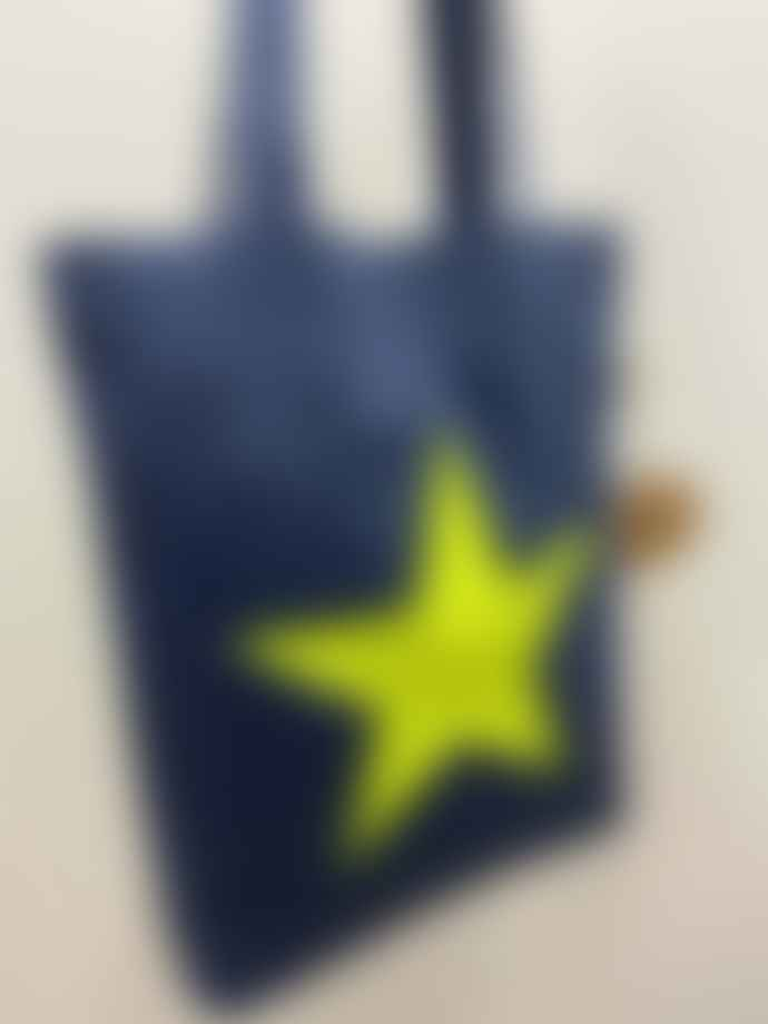 Feather & Nest Denim Salvaged Star Tote Bag Neon Yellow