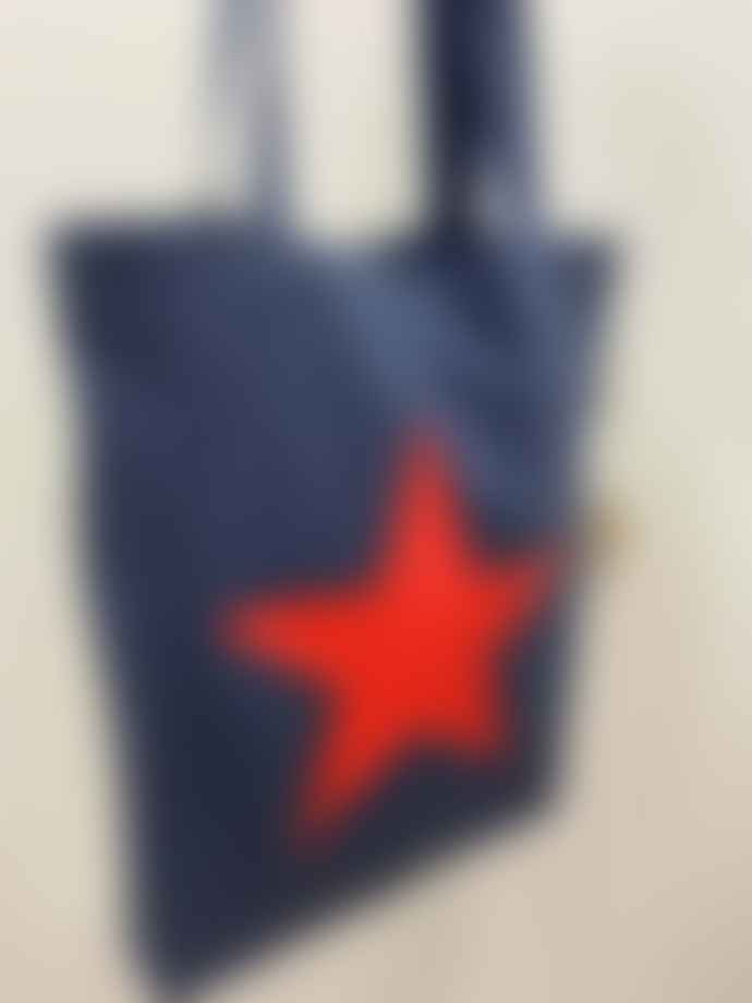 Feather & Nest Denim Salvaged Star Tote Bag Neon Red
