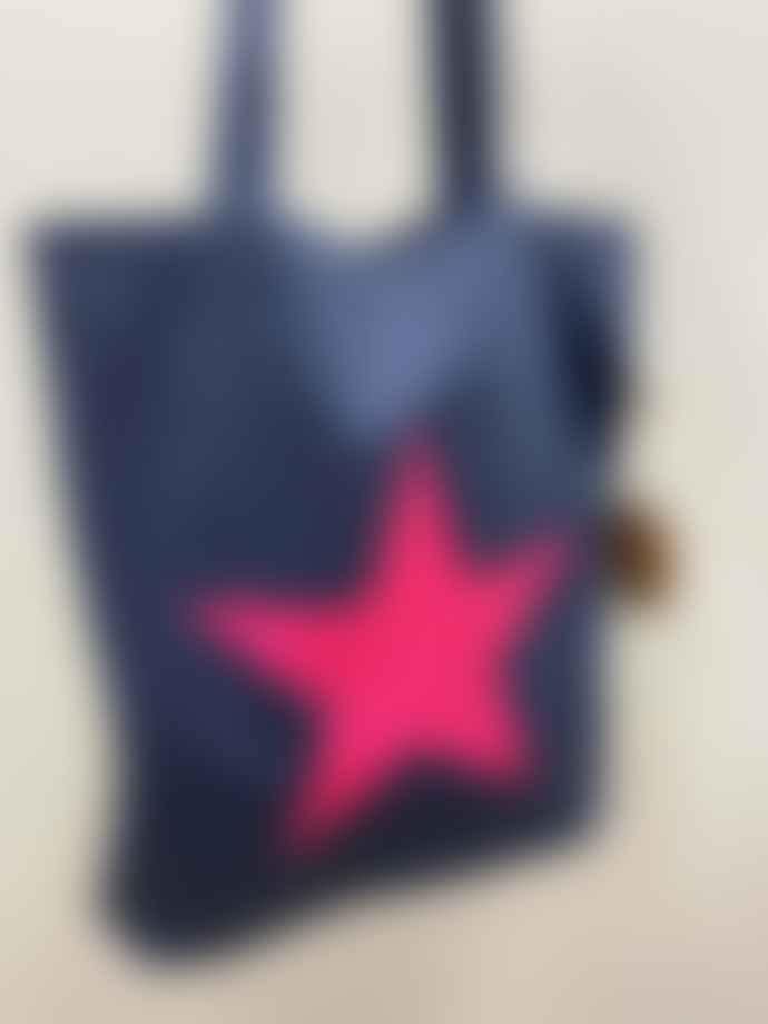 Feather & Nest Denim Salvaged Star Tote Bag Neon Pink