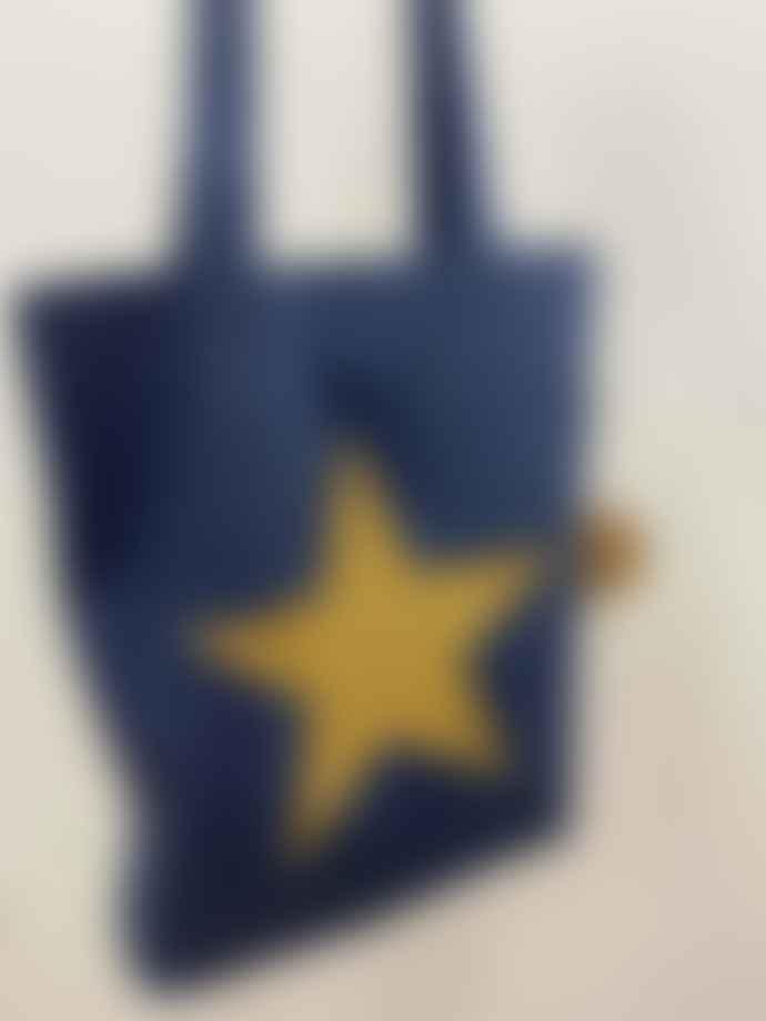 Feather & Nest Denim Salvaged Star Bag Gold Glitter