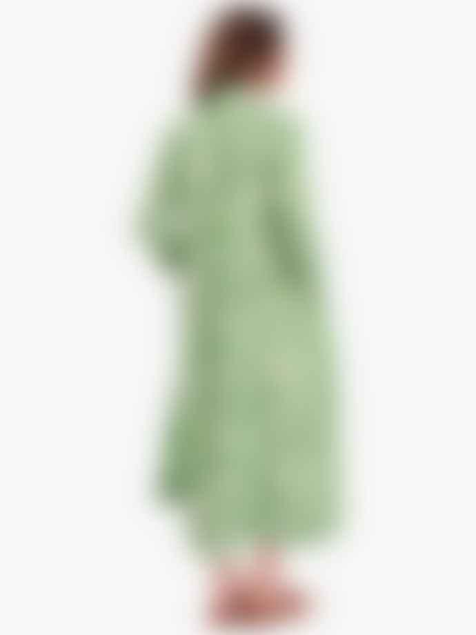 Ganni Island Green Printed Cotton Poplin Maxi Dress