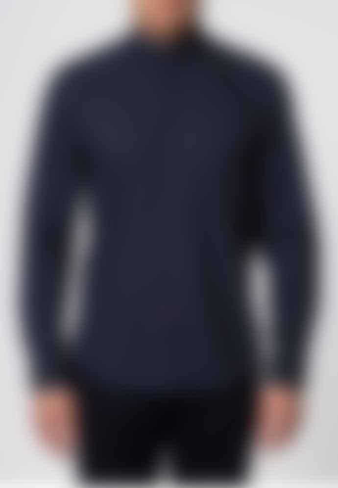 Merc London Siegel Navy With White Polka Dot Shirt