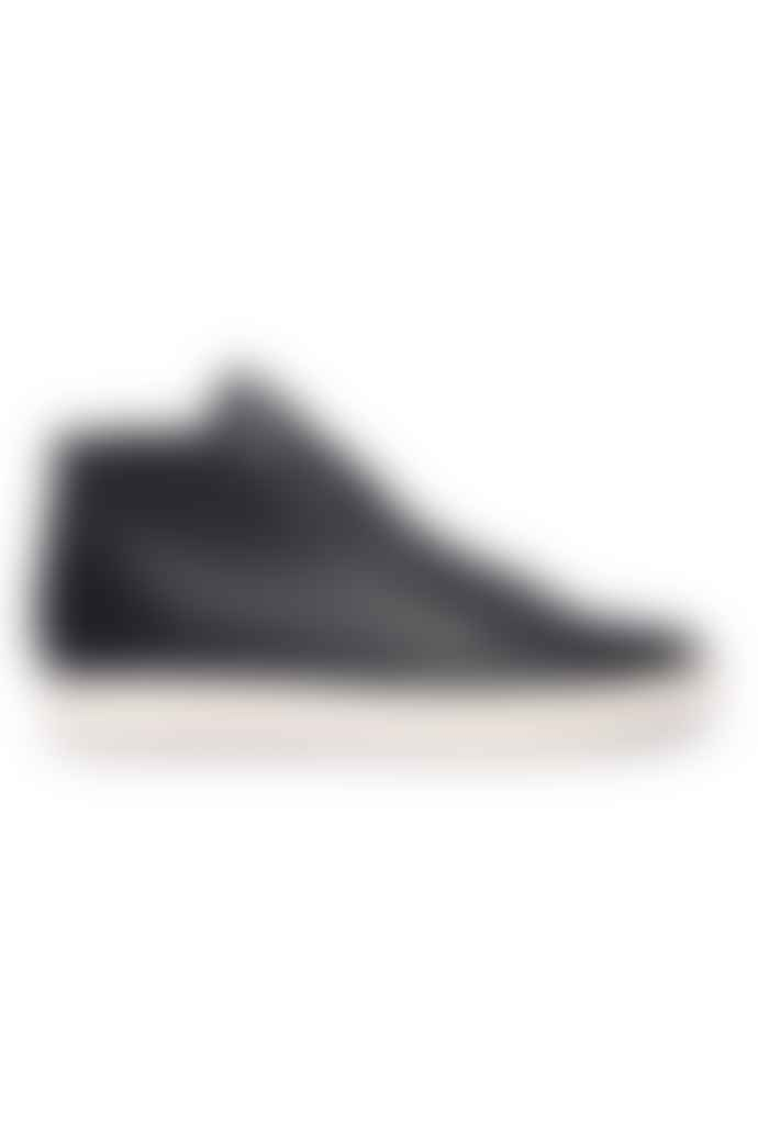 Clae Black Bradley Mid Milled Tumbled Leather Trainers