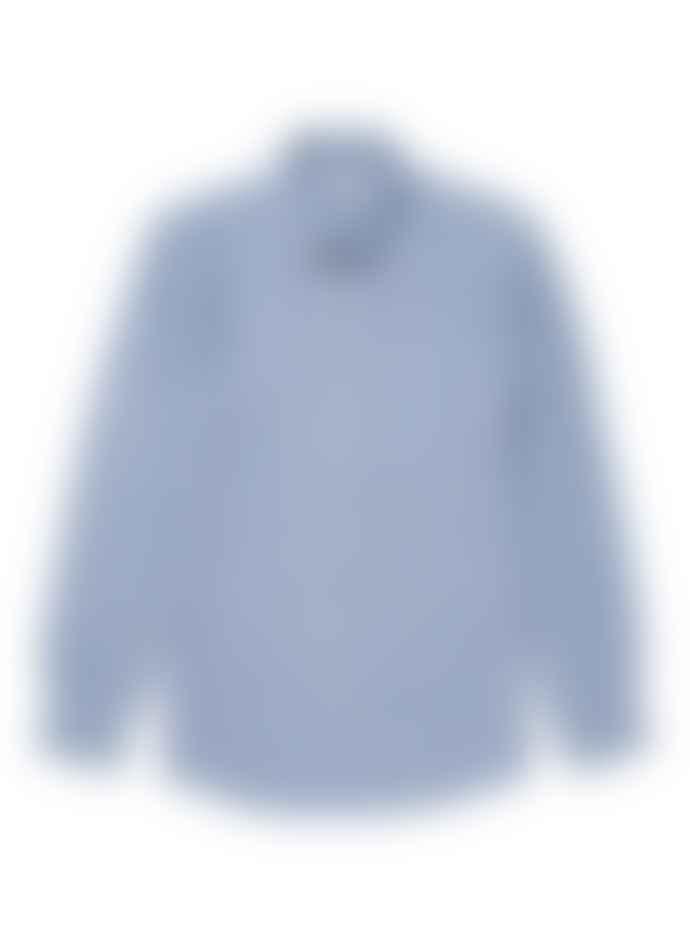 Sunspel Long Sleeve Shirt Wide Blue Linen Stripe