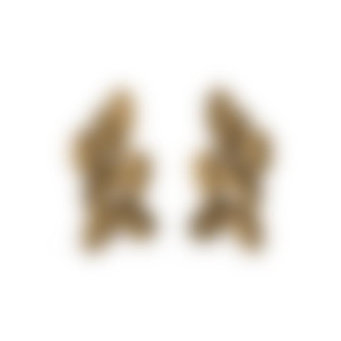 Maison 203 3D printed Gold No 2 Metallic Leaves Earrings