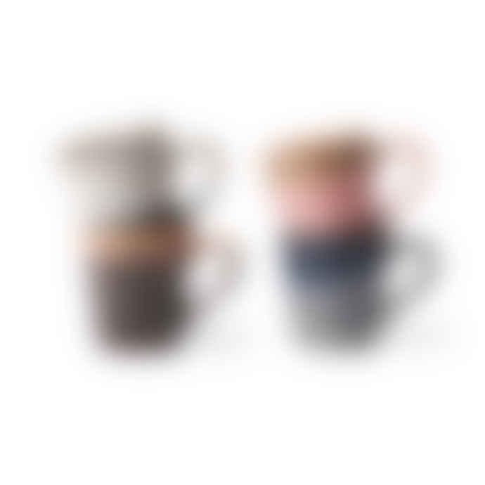 HKliving Set of 4 Multicolor Ceramic Espresso Mugs