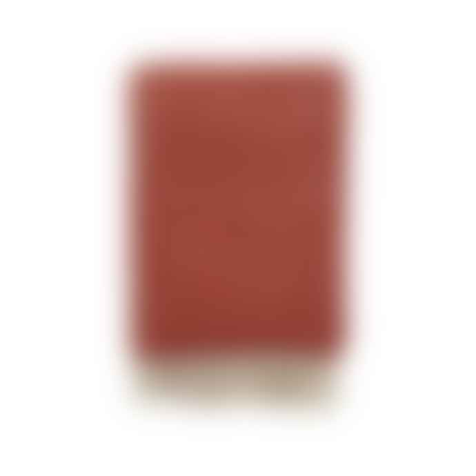 Klippan Yllefabrik Red Brushed Lamb Wool Luxor Plaid with White Fringes