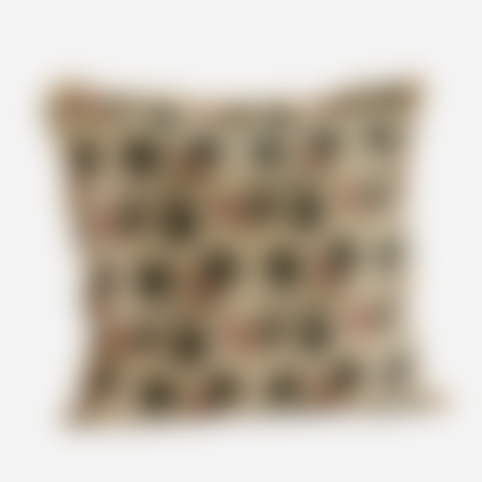 Madam Stoltz Nude Printed Cushion Cover with Fringes