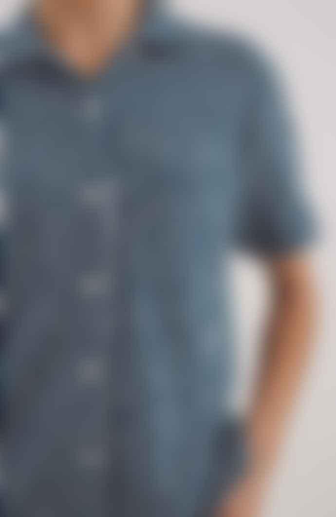 YMC Vegas Short Sleeve Shirt Blue Ecru