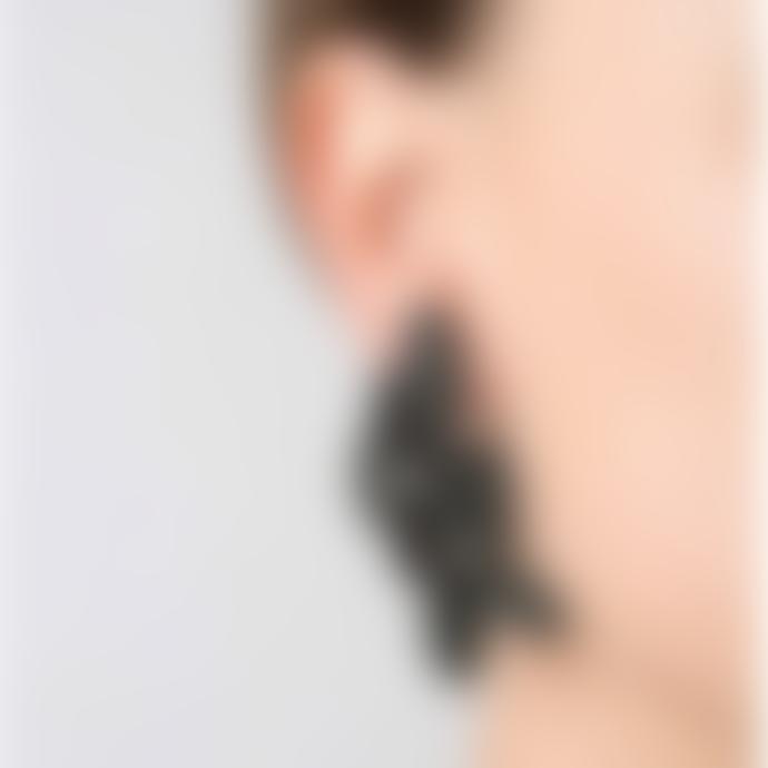 Maison 203 3D Printed black Leaves II Earrings