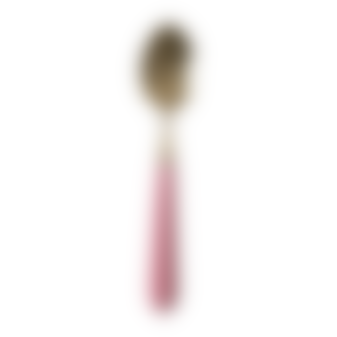 Rice D K  Cutlery In Brass Look With Pink Ceramic Handle