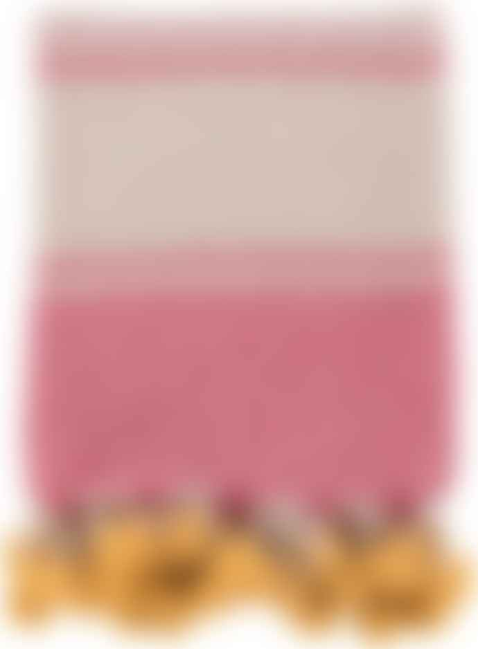 Sunshine and Snow Ian Snow Pink Yellow Cotton Throw With Pom Poms