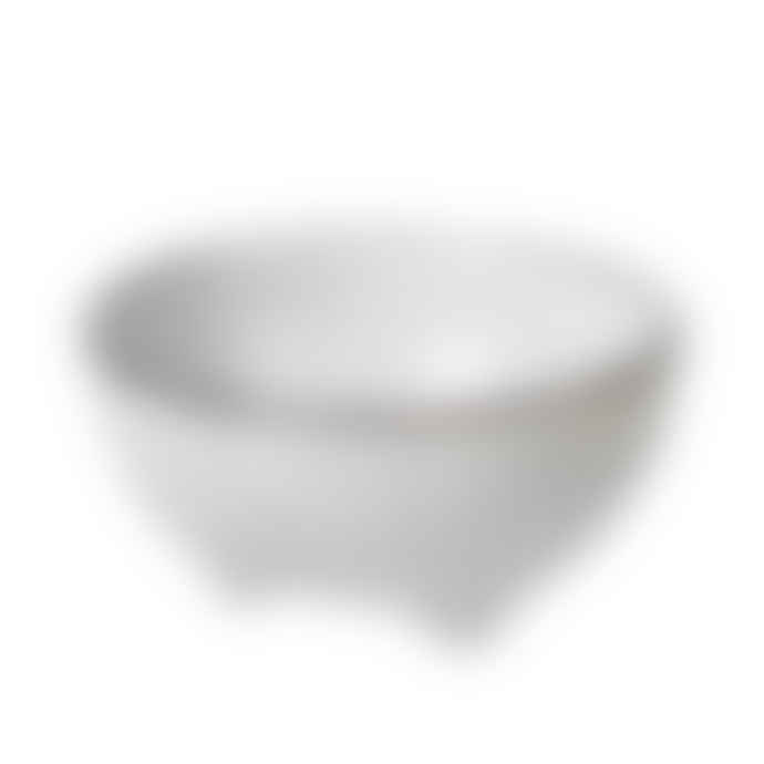 Broste Copenhagen Set of 4 Small Nordic Sand Broste Bowl with Small Feet in A Neutral Light Grey Colour and Hand Glazed