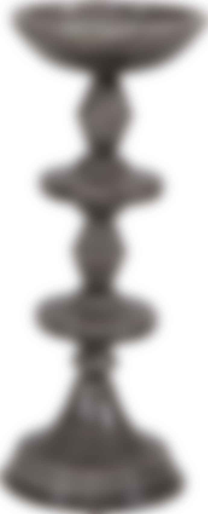 BePureHome Set of 2 Grey Metal Candle Holder